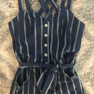 7 For All Mankind Cropped Jean Overall Romper